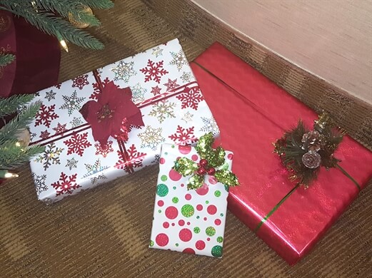 Holiday Presents Wrapped with Ribbons & Bows