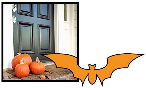 Halloween Safety: Door with Pumpkins on the Porch